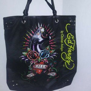 Ed Hardy by Christian Audigier Black Graphic Tote